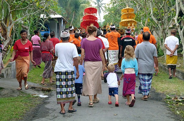 The parade started in our village street