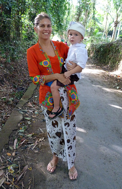 Walking in a tight sarong is difficult