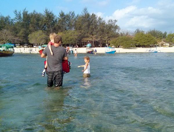 wading ashore