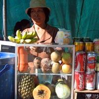 Drinking fruit shakes in Cambodia