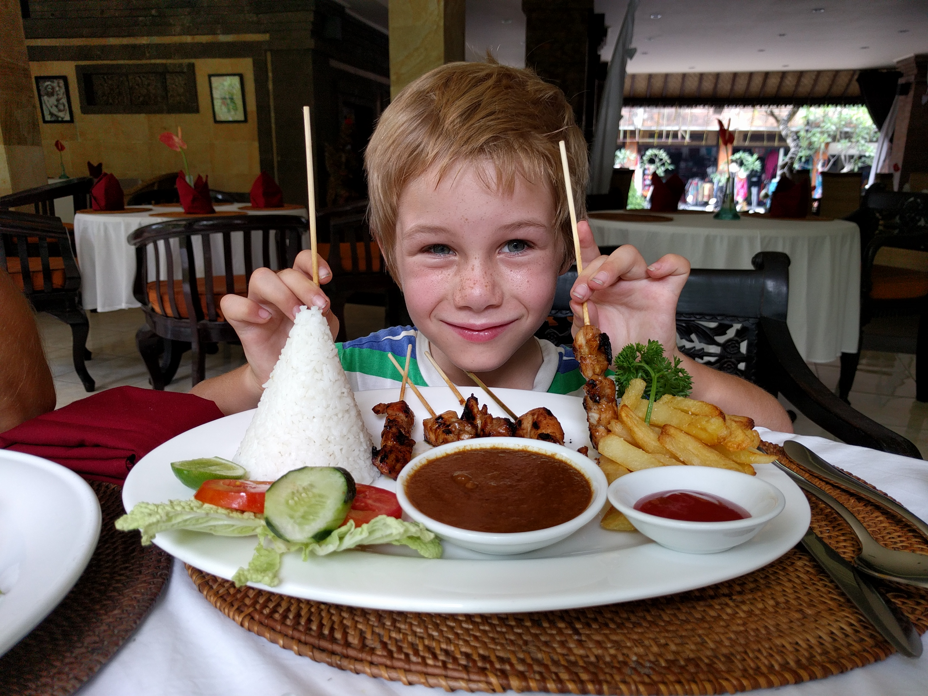 Trying some local Bali food