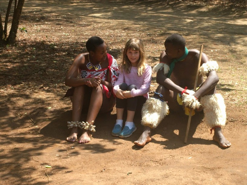 Olive and a couple of zulu dancers before their show