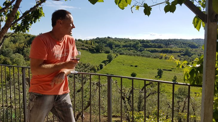 Enjoying the local productsin Tuscany