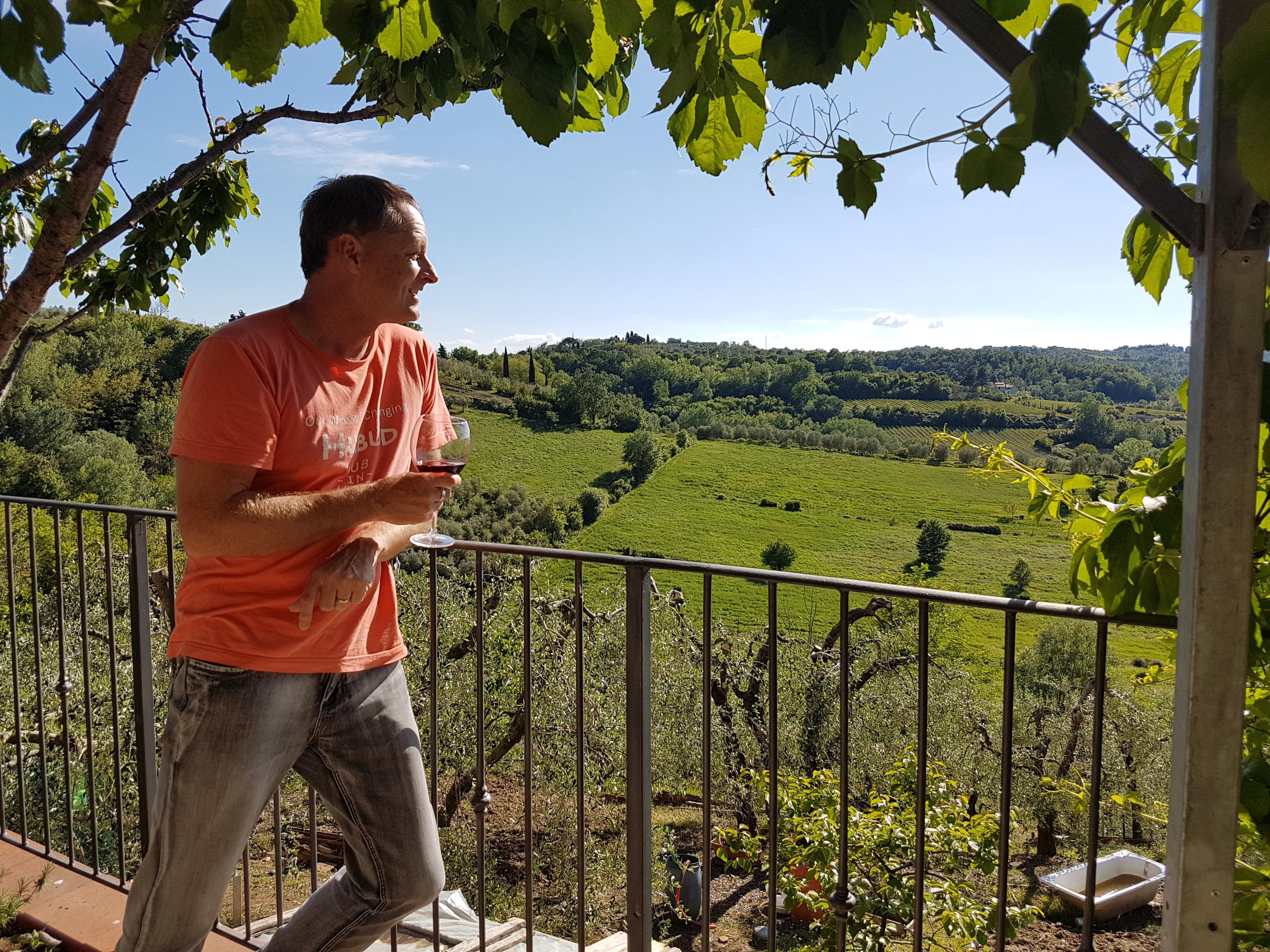 Enjoying the local productsin Tuscany