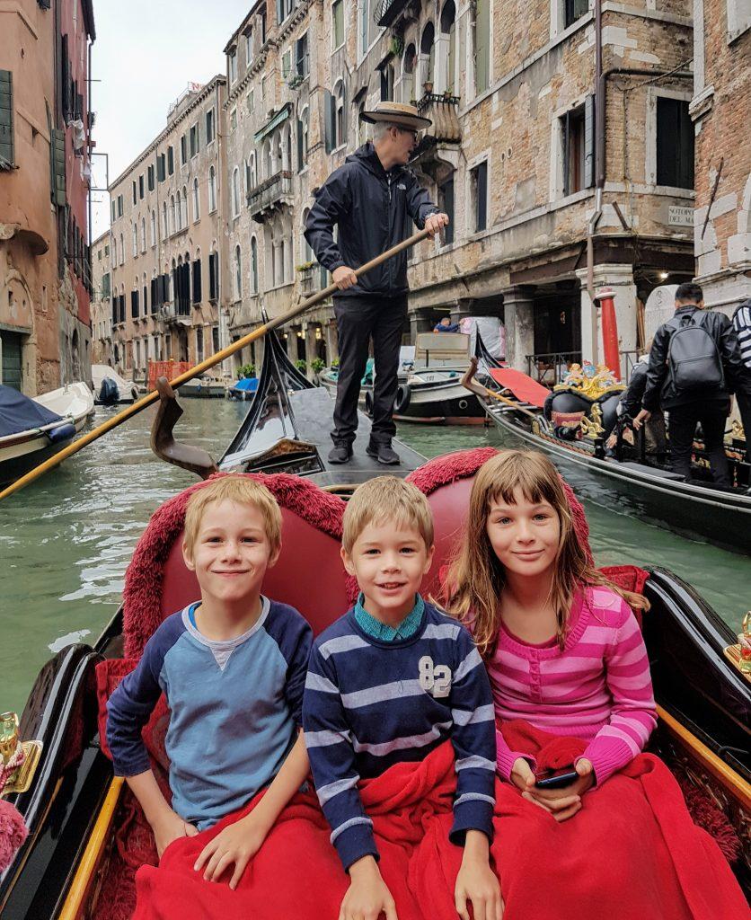 Aboard a gondola in Venice
