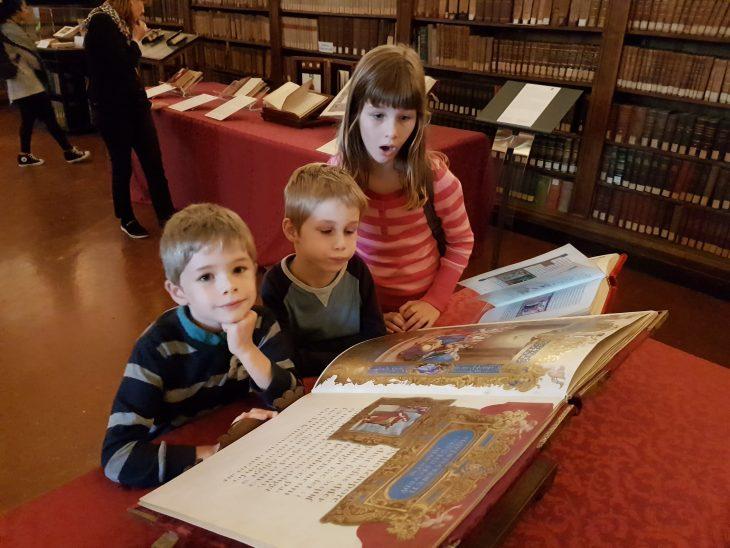 Library of old illuminated books