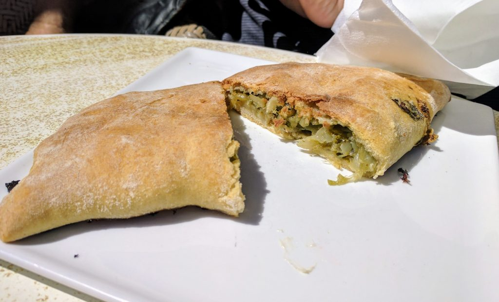 Pastry, comes with combinations of onions, cheese and silverbeet