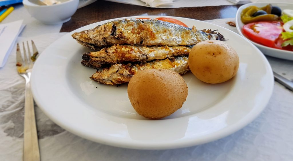 A plate of sardines