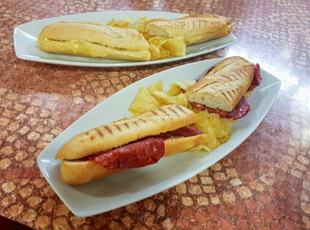 Spanish Boccadillos, breads filled with filings such as cured meats