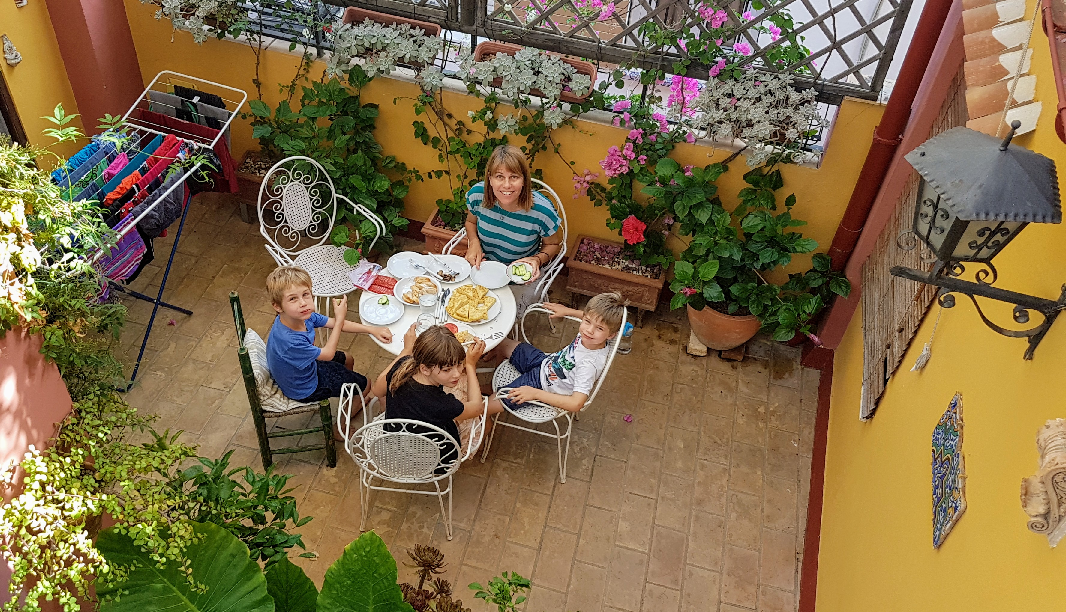 Enjoying a meal on our terrace
