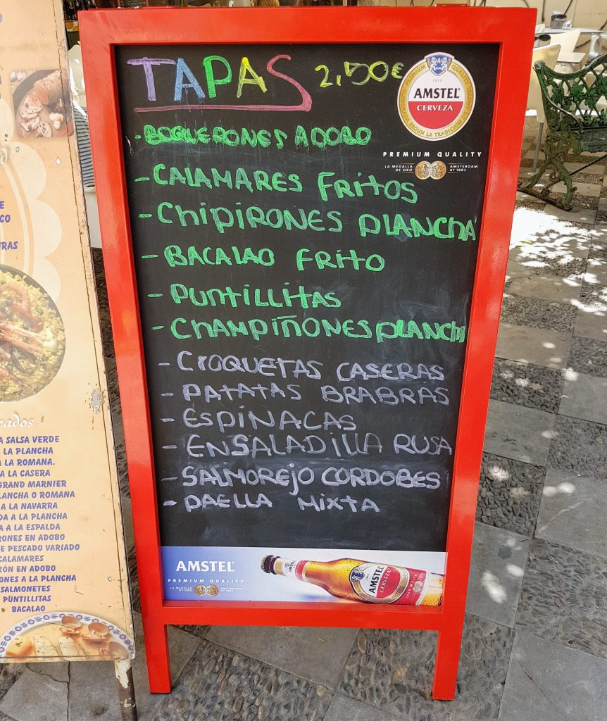 Example tapas menu
