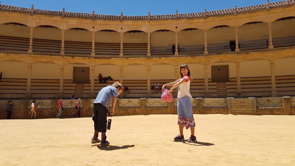 Playing bullfights on the Ronda bullring