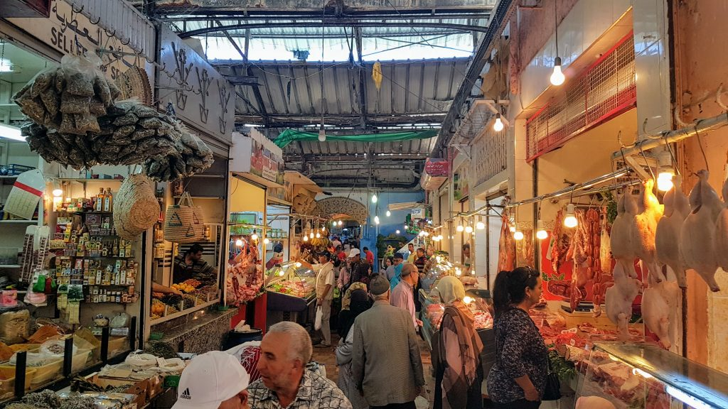 Busy marketplace in the old part of Tangier