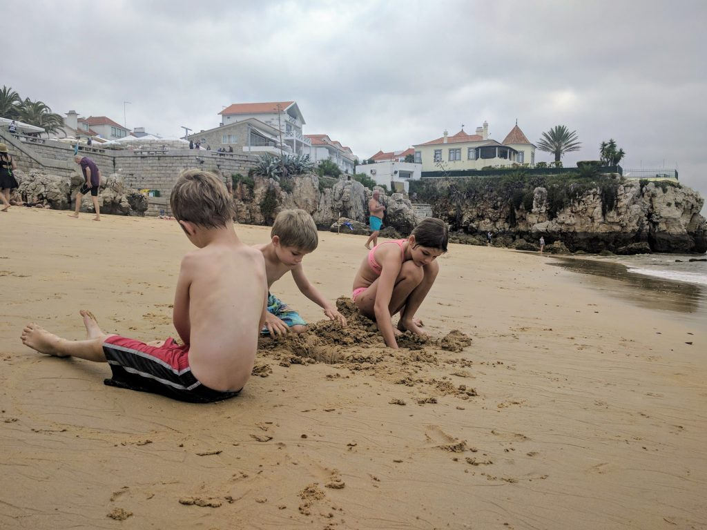 Playing on the Cascais beach