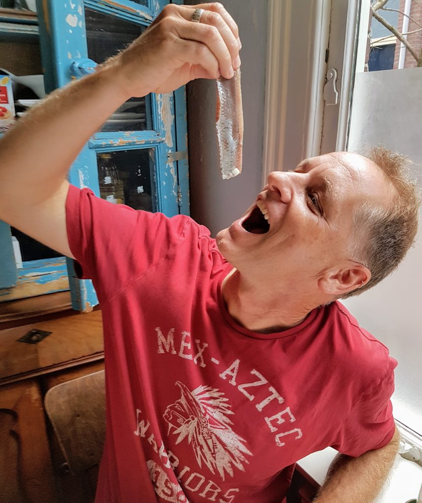 Eating raw herring the traditional way