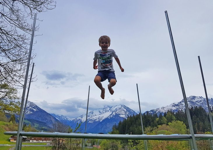 Casper jumping for joy in Switzerland