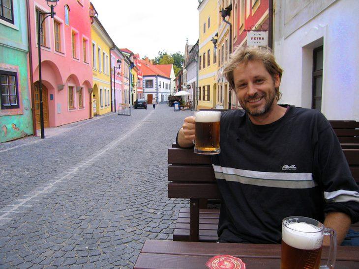 Having a drink of beer in the Czech Republic in 2005