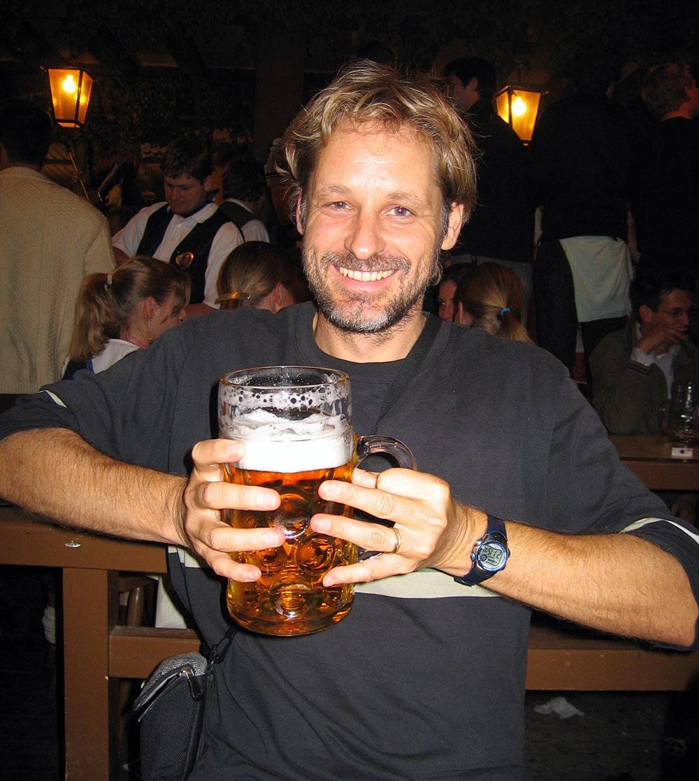 Having a beer at Oktoberfest in Germany