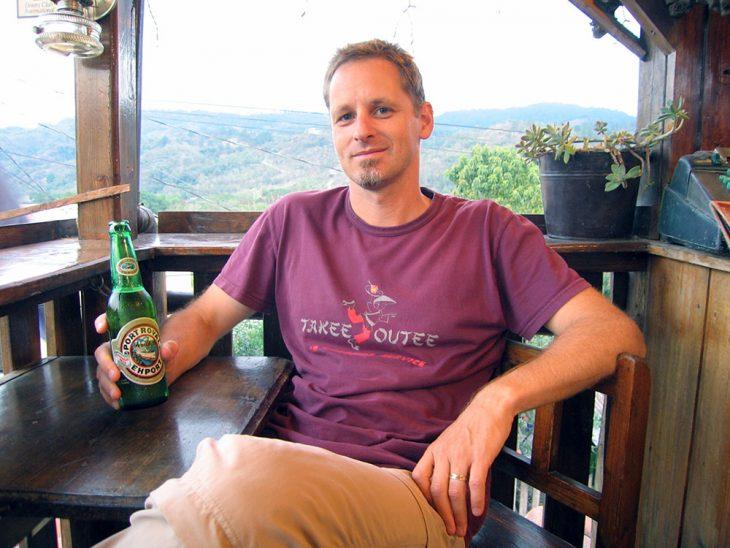 Having a beer in Honduras
