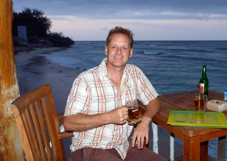Having a beer in Lombok, Indonesia
