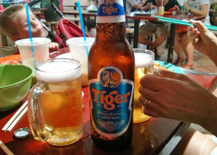 Having a beer in Singapore