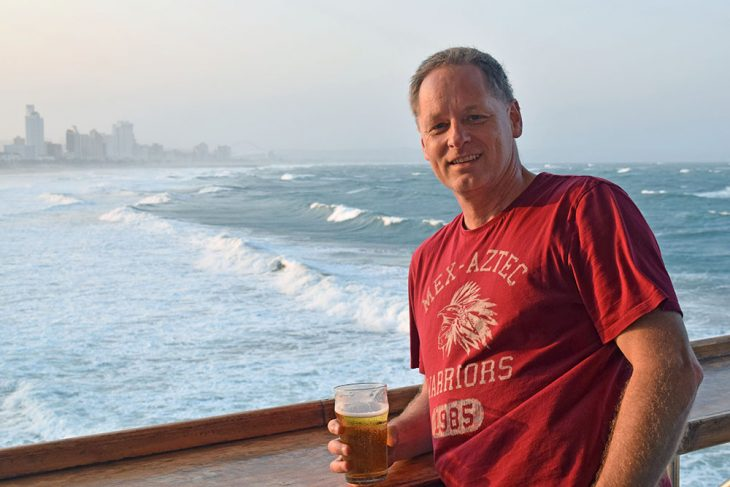 Having a beer in Durban South Africa