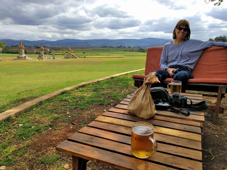 Having a beer with Clare in Swaziland