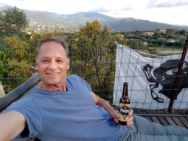 Having a beer in Corsica
