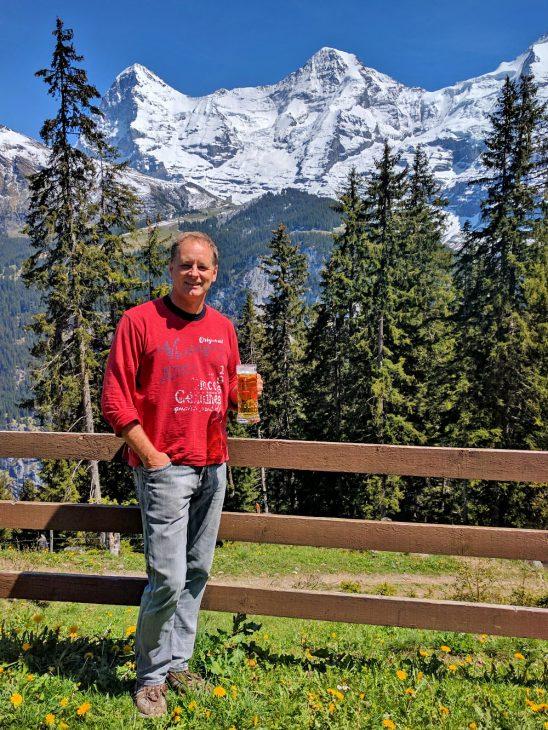 Having a beer in Switzerland
