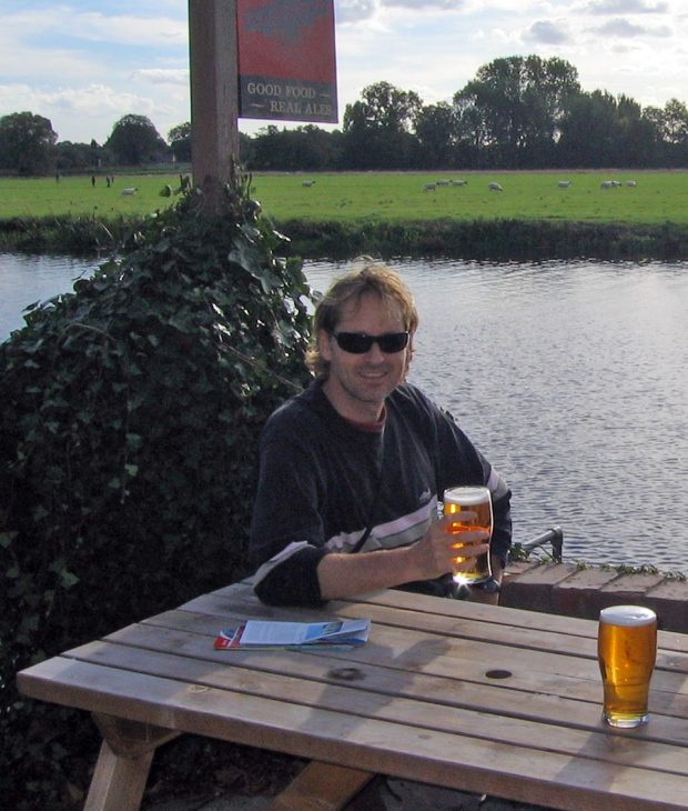 Having a beer in England
