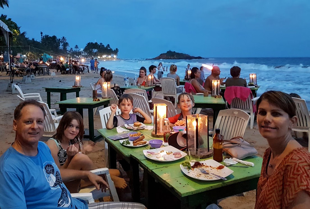 Enjoying a meal on the beach in Mirissa, Sri Lanka
