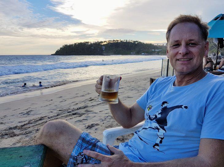 Rob having a beer in Sri Lanka