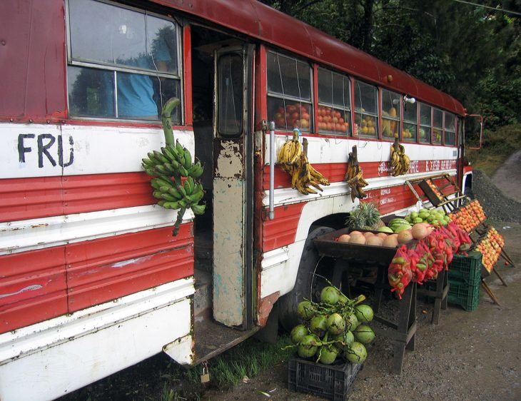 A bus converted into a fruit stand in Costa Rica