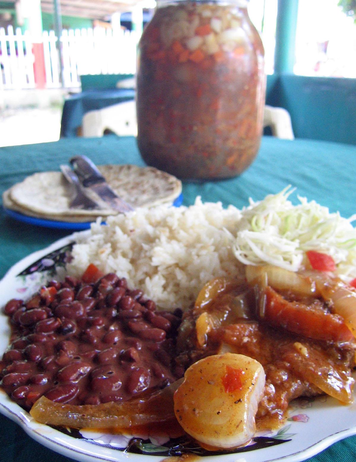 Typical Nicaraguan meal