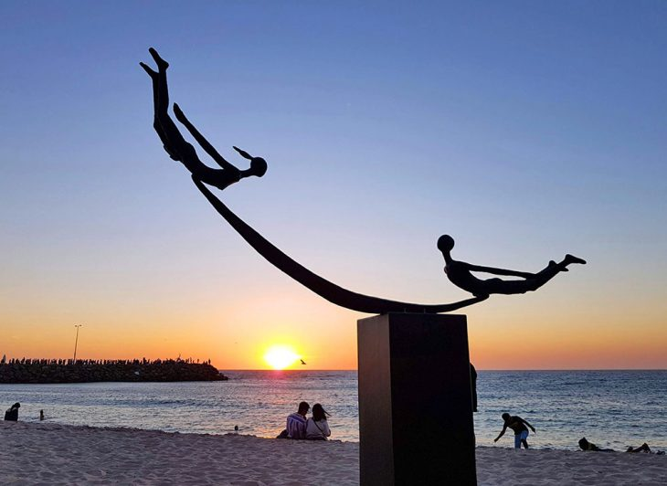 Cottesloe Beach sculpture sunset
